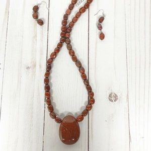 Red Jasper Beaded Statement Necklace and Earrings